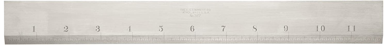 1-13//32 Width Starrett 387-12 Steel Straight Edge With Bevel And Graduated Edge 12 Length 11//64 Thickness 12 Length 1-13//32 Width 11//64 Thickness