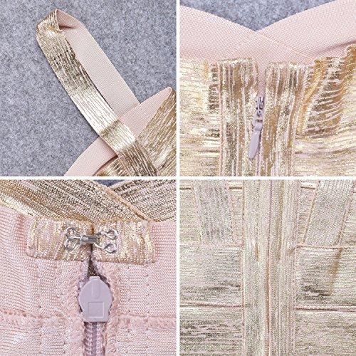 Mini Bügel Verband Damen Kleid Kunstseide Spaghetti Gold HLBandage AIqwxzf4