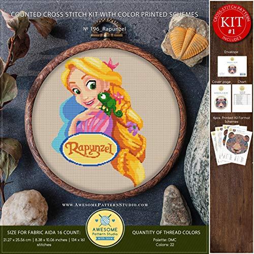 Rapunzel #K196 Embroidery Kit   Disney Cross Stitch Patterns   Cross Stitch World   Needlepoint Kits   Cross Pattern   Embroidery -
