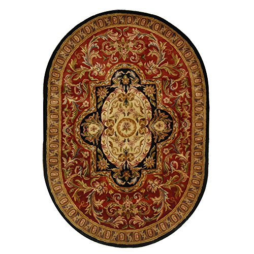 (Safavieh Classic Collection CL220C Handmade Traditional Oriental Red and Black Wool Oval Area Rug (4'6