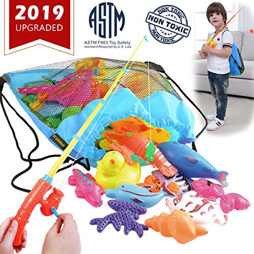 CozyBomB Magnetic Fishing Pool Toys Carnival Games Summer Water Party Gifts for Kids - Outdoor Sea Ocean Themed Catch Fish Birthday Learning Play-Set for Age 3 4 5 6 Year Old Boys Girl Bday Xmas STEM -