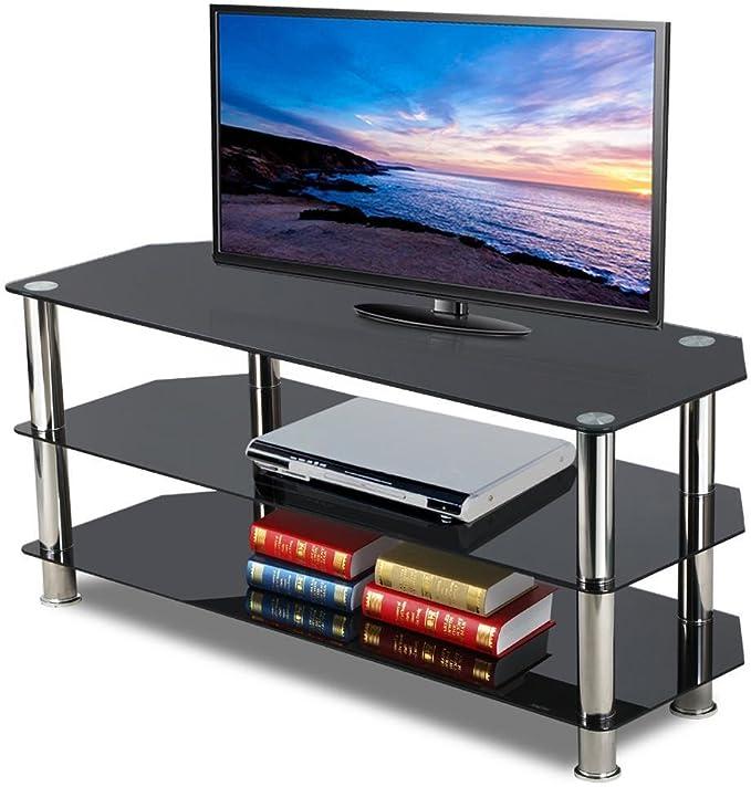 chinkyboo – Cristal Negro Soporte para televisor con 3 niveles de almacenamiento de estante de mesa para televisores de pantalla plana por debajo de 60 pulgadas: Amazon.es: Hogar