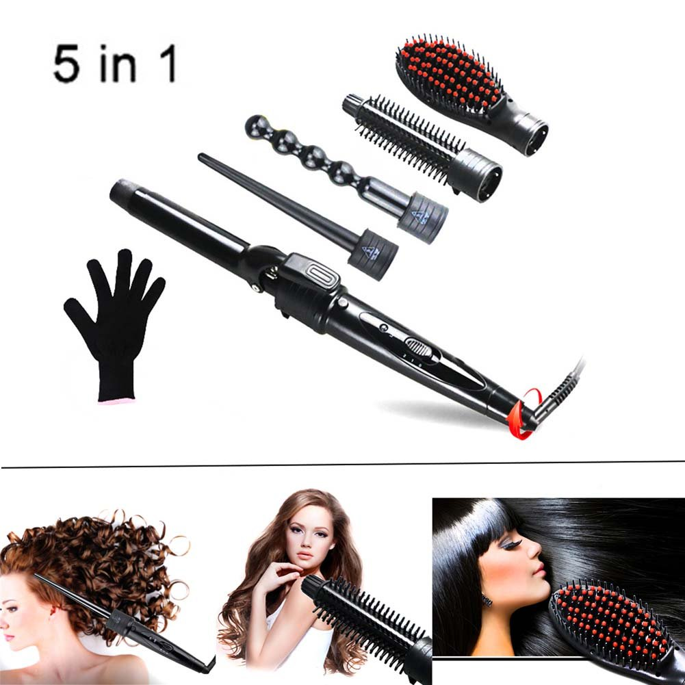 QJHP 5 in 1 Curling Wand Set Ceramic Cone Hair Curler Multifunction Temperature Control Self-Locking Function with 5 Interchangeable Barrels with Heat Resistant Glove by QJHP (Image #1)