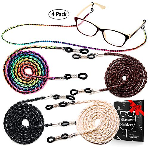 Eye Glasses String Holder Chain - Premium ECO Leather Eyeglass Lanyards Straps Cords for Men and Women - Glasses Holders Necklace Around ()