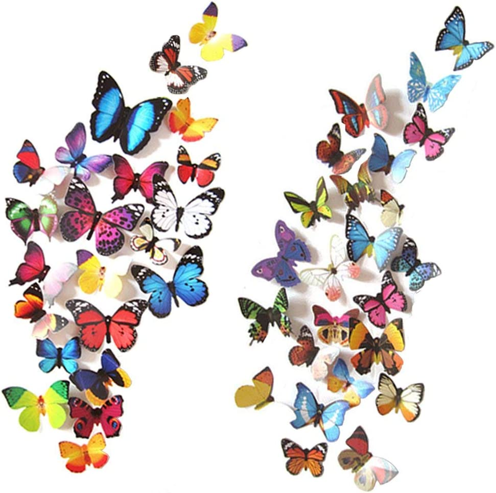 100 PCS Butterfly Wall Stickers, 3D Butterflies Decor Dragonfly Butterfly Decals for Removable Mural Stickers Home Kids Bedroom Nursery Decoration