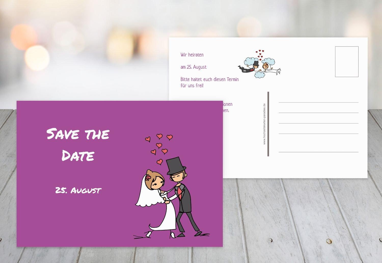 Karten Paradies Save The Date Comic Couple Purple 10 Karten