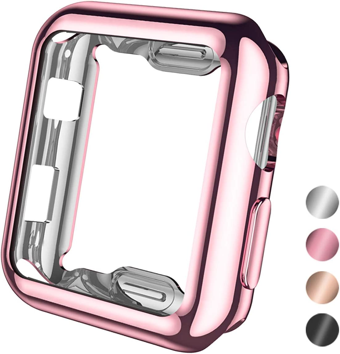 Henva Compatible with Apple Watch Case 38mm Series 3, Series 2, Series 1, Soft Overall Protective Case Ultra-Thin TPU Cover Compatible for iWatch 38mm Series 3 2 1, Rose Pink
