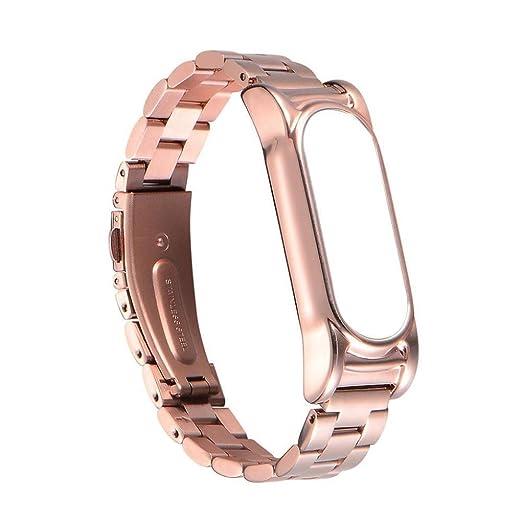 Pulseras metal Xiaomi Miband 2,Pulsera de acero inoxidable Correa de reloj metal ultrafina para Xiaomi Mi Band 2 Barato por VENMO (Oro rosa): Amazon.es: ...