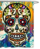 FOOG Sugar Skull Shower Curtain Day of the Dead Dia De lis Set Mexician Style Curved Floral Red Rose Steampunk Fabric Waterproof Mildew Resistant Eco-Friendly - Orange Blue Red (70''W x 70''L, Multi4)
