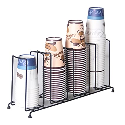 MyLifeUNIT 4 Compartments Wire Rack Coffee Cup Dispenser and Lid Holder, 18-1/