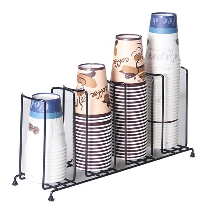 MyLifeUNIT 4 compartimentos de alambre soporte, dispensador de vasos de café y tapa, 18 - 1/2