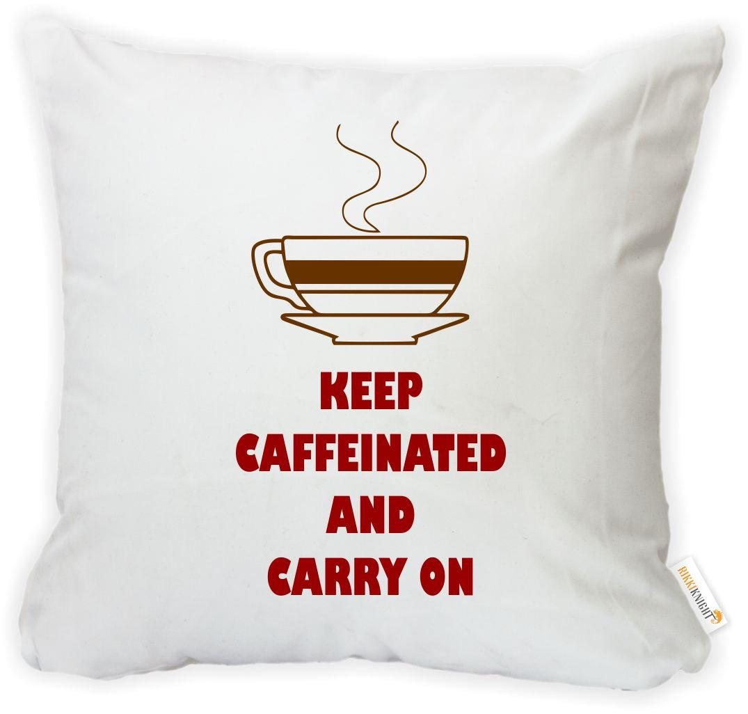 Rikki Knight 16 x 16 inch Rikki KnightFunny Saying Keep Caffeinated and Carry On Microfiber Throw Pillow Cushion Square with Hidden Zipper Insert Included Printed in The USA