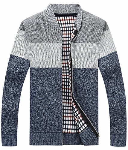 Zipper Knitted - HOW'ON Men's Casual Wide Stripes Zipper Knitted Cardigan Sweater Light Grey XL