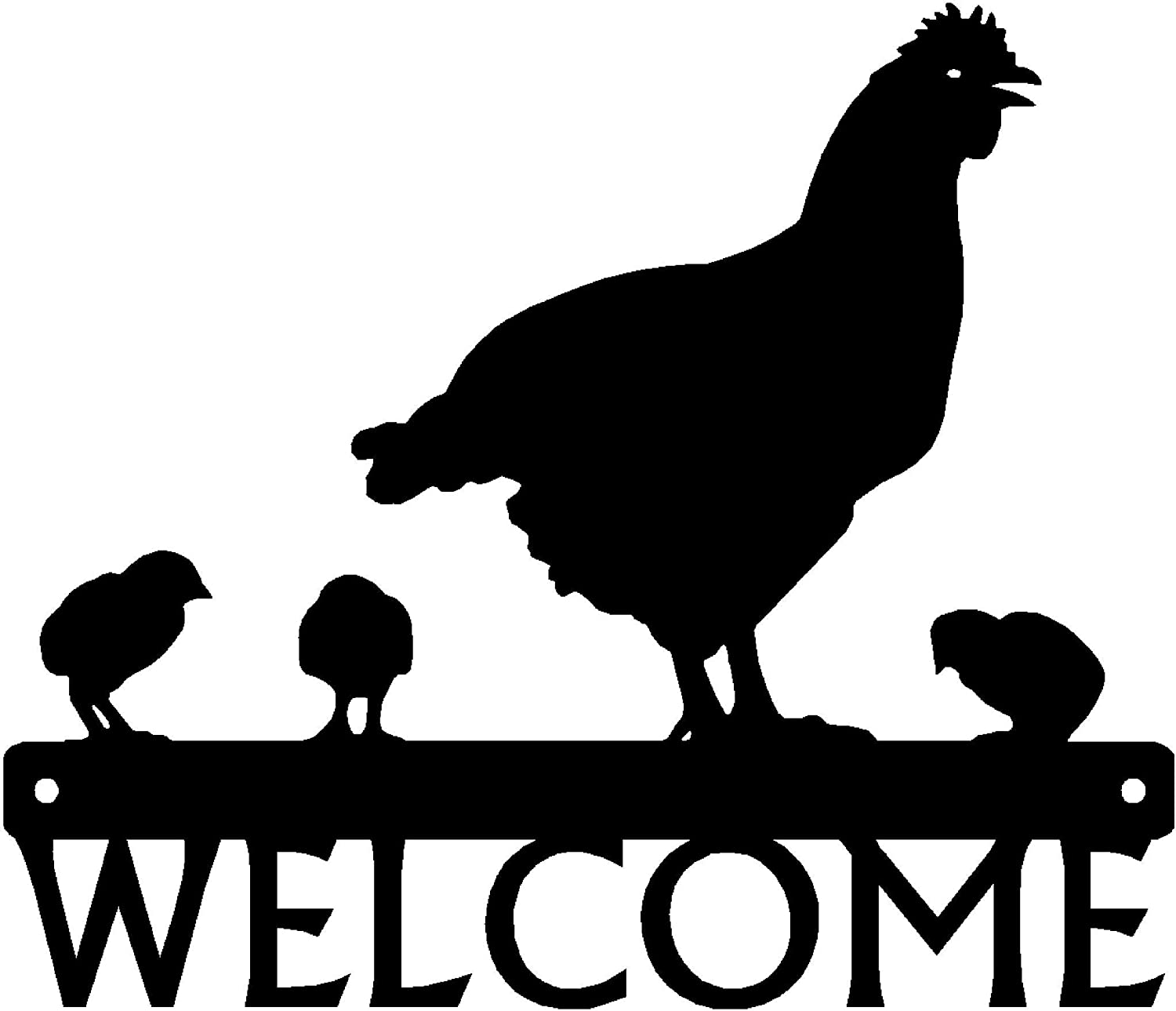 The Metal Peddler Hen and Chicks Welcome Sign - 12 inch Wide - Made in USA