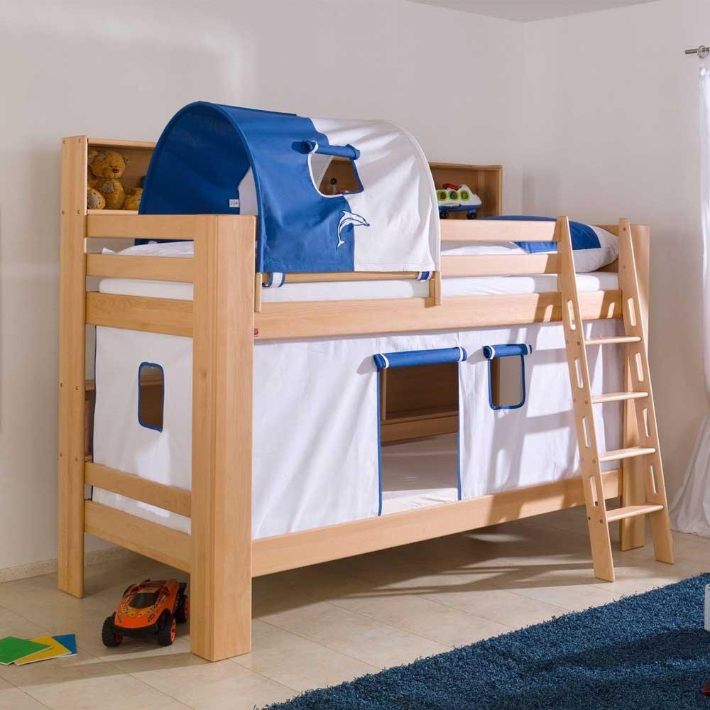 Kinderetagenbett aus Buche Massivholz Tunnel und Vorhang Pharao24