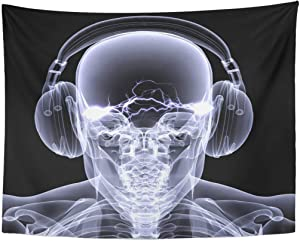 Tapestry Music Skeleton X Ray Dj of Male Wearing Headphones with Electric Activity in His Head Black Rave Home Decor Wall Hanging for Living Room Bedroom Dorm 60x80 Inches