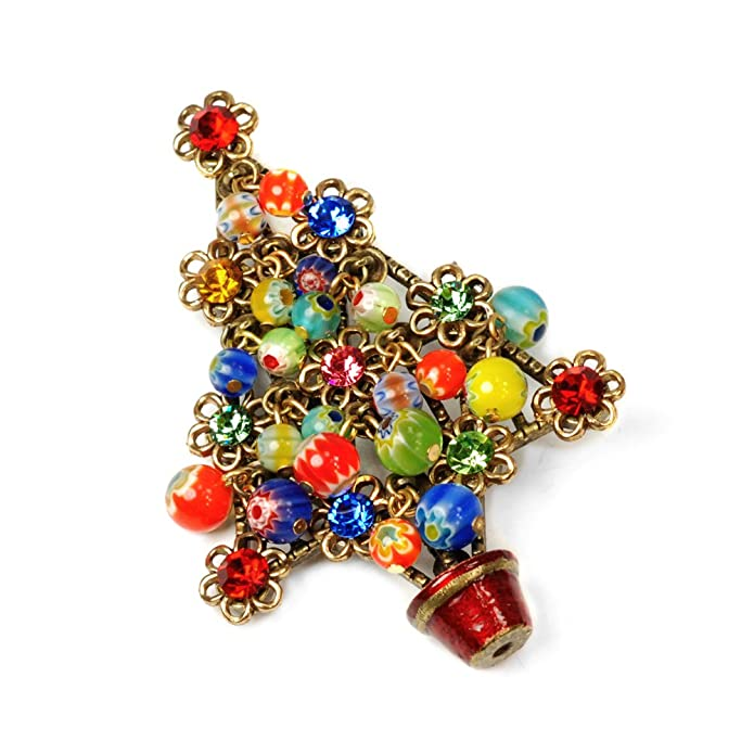 Vintage Style Jewelry, Retro Jewelry Sweet Romance Millefiori Beads Tree Christmas Pin $49.00 AT vintagedancer.com