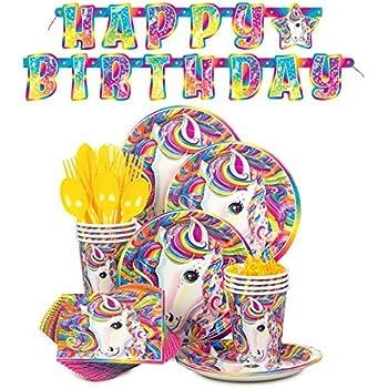 Lisa Frank Rainbow Majesty Unicorn Birthday Party Supplies Pack - Serves 16