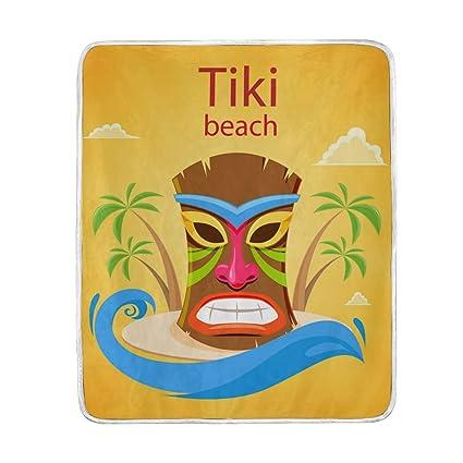 Amazon.com: Jojogood Colorful Tiki Mask On The Island Throw ...
