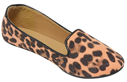 312e7bd10d8 Anna Sonia-12 Women s flat oxford slip on boat leopard animal print suede  loafers Cognac