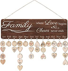 ElekFX Mom Gifts Family Birthday Reminder Calendar Hanging Board/Important Dates Tracker Home Decorative Plaque Wall Hanging Handmade Creative Birthday Gifts (Brown Family Love)
