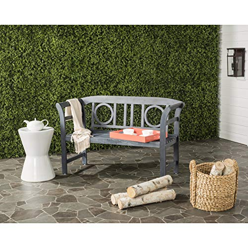Safavieh PAT6743B Outdoor Collection Moorpark 2 Seat Bench, Ash Grey