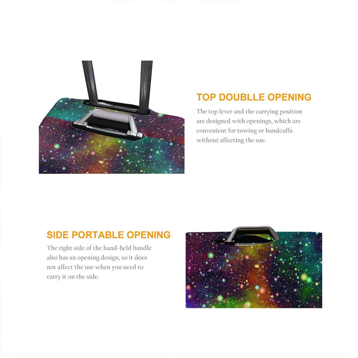 Abstract Universe Nebula Night Starry Sky Rainbow Colors Elastic Travel Luggage Cover,Double Print Fashion Washable Suitcase Protector Cover Fits 18-32inch Luggage