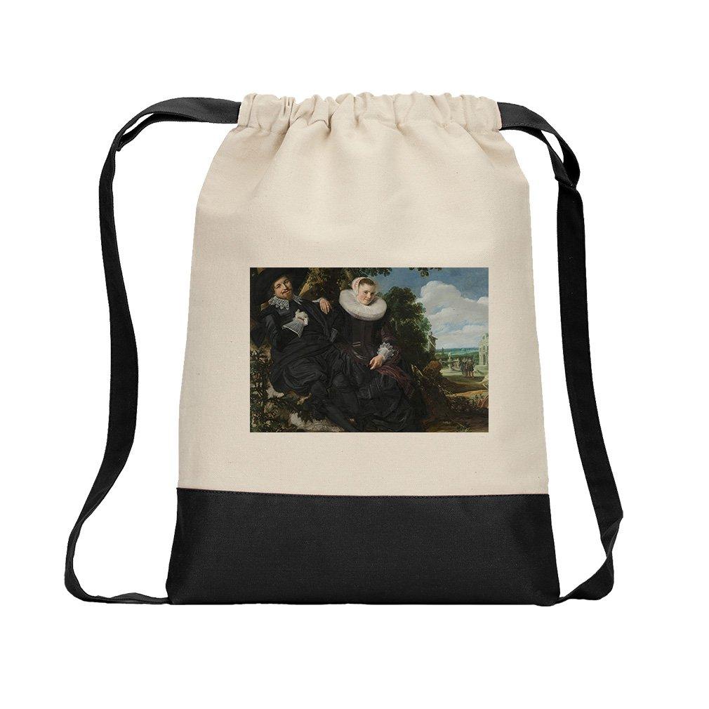 Wedding Portrait (Frans Hals) Canvas Backpack Color Drawstring Bag - Black