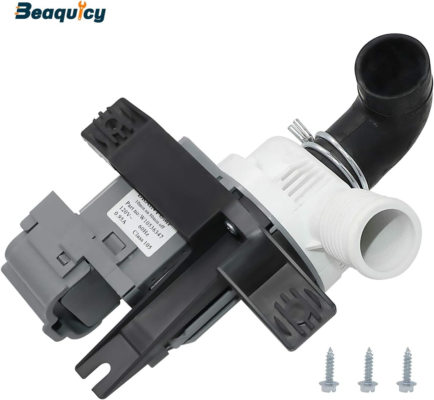 W10536347 Washer Drain Pump Assembly (120V 60Hz 0.95A) by Beaquicy - Replacement for Whirlpool Kenmore Washing Machine - Package Includes the Motor and 3 Pack Mounting Screws