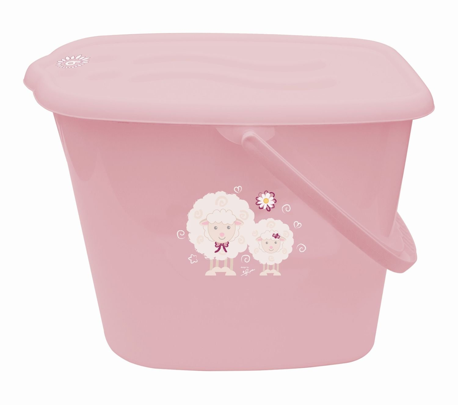 Bieco 11181704 Nappy Bin with Lid and Handle, Pink Supa GmbH