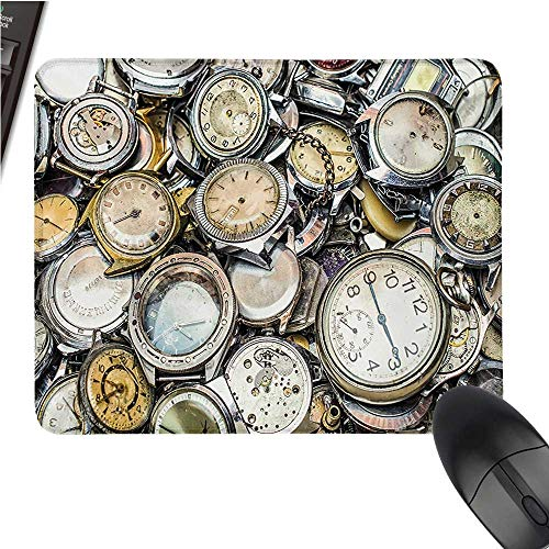"""ClockOffice Mouse PadAntique Theme A Pile of Several Different Vintage Style Clocks Retro Pattern DesignWaterproof Mice Pad 9.8""""x11.8""""Gold Beige"""