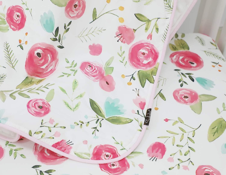 Pink Peony 4PCS Crib Rail Guard Set Boho Floral Nursery Baby Bedding Ruffled Crib Skirt Crib Rail Cover Set
