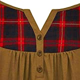DEATU Women Henley Neck Plaid Button Pleated