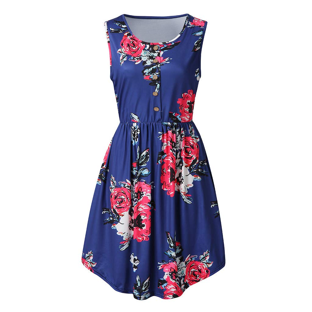 KYLEON Womens Summer Dresses Sleeveless Casual Floral Print U-Neck Flared Midi Dress with Pockets Boho Beach Tank Dress