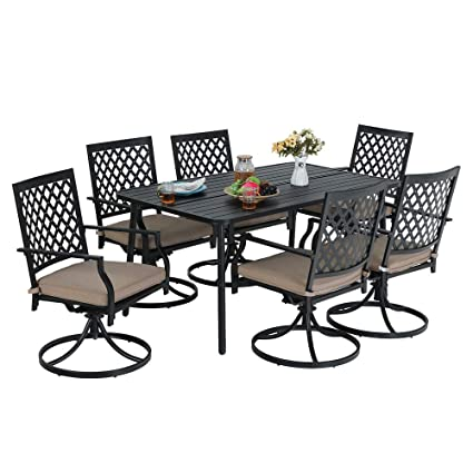 Terrific Mf Studio 7 Piece Metal Outdoor Patio Dining Bistro Set With 6 Swivel Armrest Chairs And Steel Frame Slat Larger Rectangular Table 59 X 35X28 Andrewgaddart Wooden Chair Designs For Living Room Andrewgaddartcom