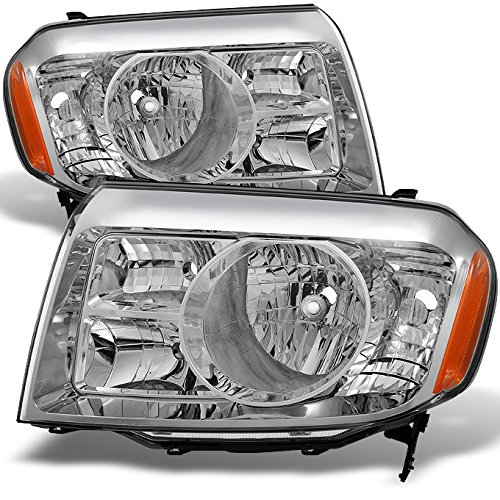 Honda Pilot SUV Clear Headlights Head Lamps Driver Left + Passenger Right Side Replacement Pair Set (Honda Pilot Headlight Assembly)