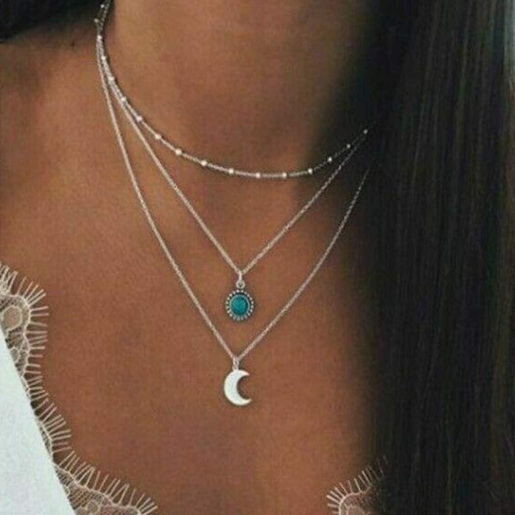 Flrora Boho Moon Collar con colgante de plata turquesa collares a la moda collar de la playa collar cadena de collar de verano joyería para mujeres y niñas