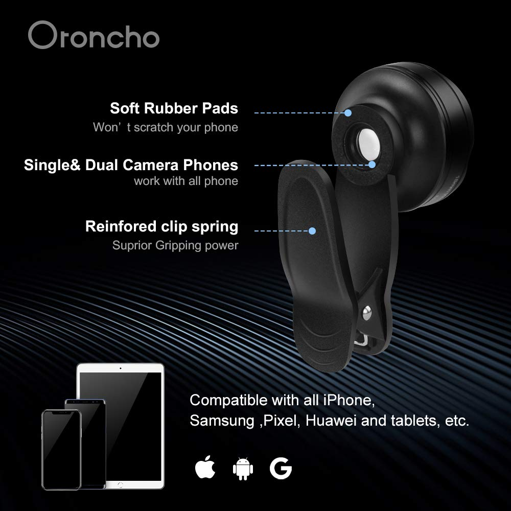 Oroncho 18mm Wide Angle Lens and 15X Macro Lens with LED Light and Travel Case,Clip on Cell Phone Lens Kits Compatible with iPhone,Samsung Pixel,Most Smart Phone Cell Phone Camera Lens