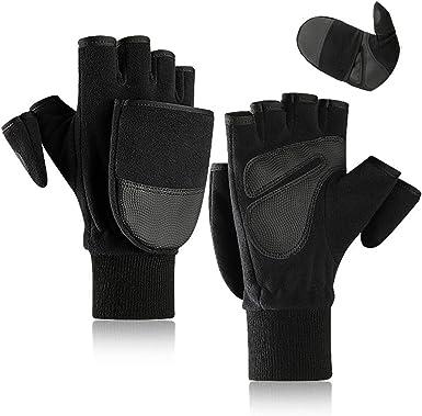 Fishing Winter Thermal Fingerless Stretch Gloves Half Finger Mitten Warm Gloves