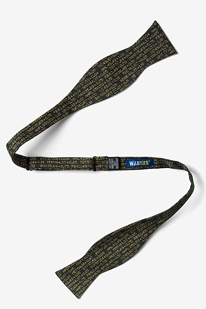 Stock Ticker Black Microfiber Bow Tie