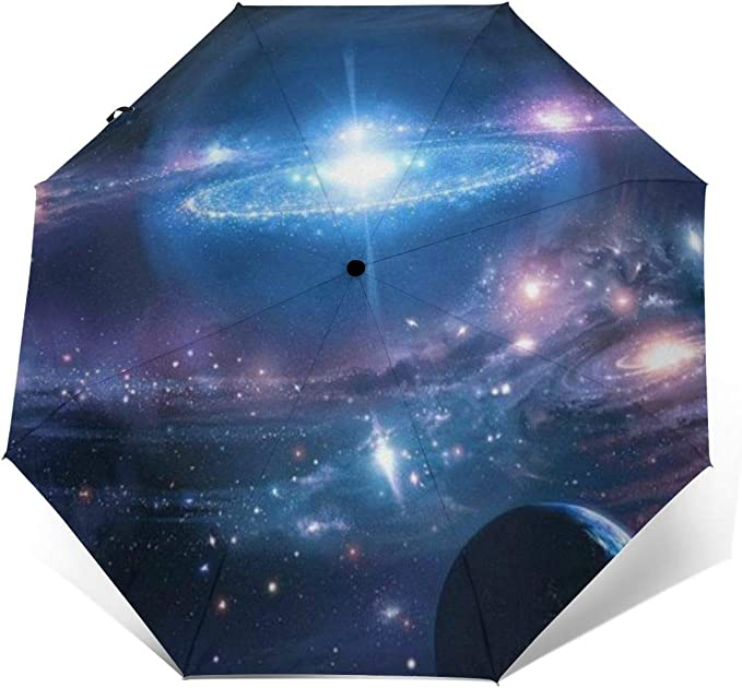 Double Layer Inverted Umbrella Cars Reverse Umbrella With C-Shaped Handle Galaxy Universe Sturdy Windproof And UV Protection Compact Travel Umbrella For Women Men