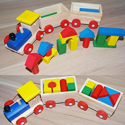 Baby Kids Developmental Toy Educational Toy Train Truck Wooden Geometric Blocks
