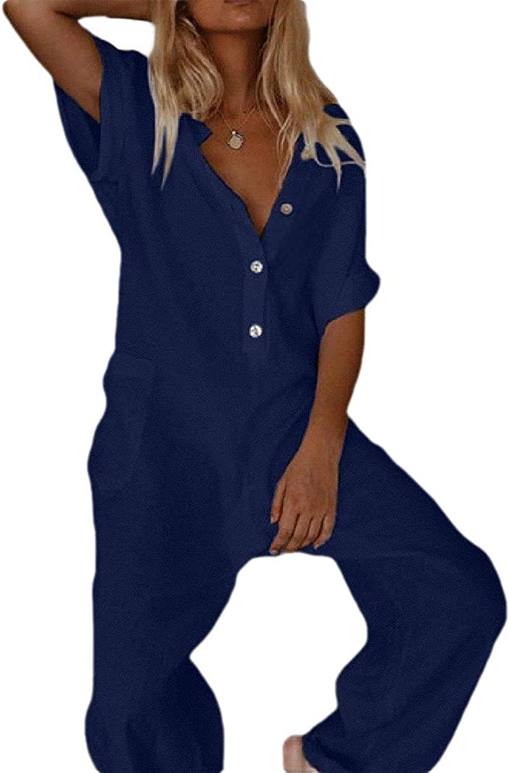 Hokny TD Womens V-Neck Casual Solid Color Playsuit Multi Pocket Buttons Short Sleeve Jumpsuit