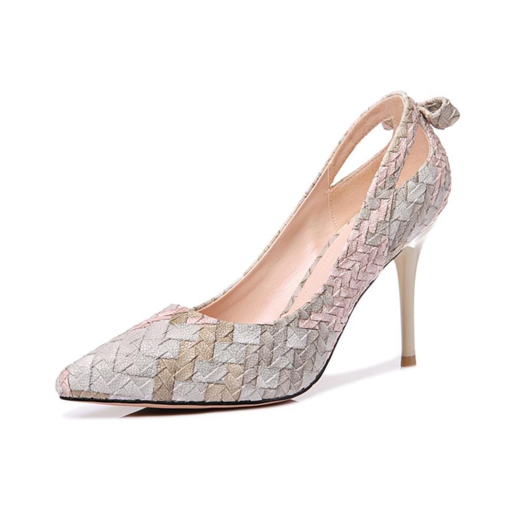CYMIU Damen Pumps High Heels Mode Schuhe Stiletto Party Prom Bowknot Flacher Mund Einzelne Schuhe Frühling Und Herbst Nähte MultiFarbe Spitz