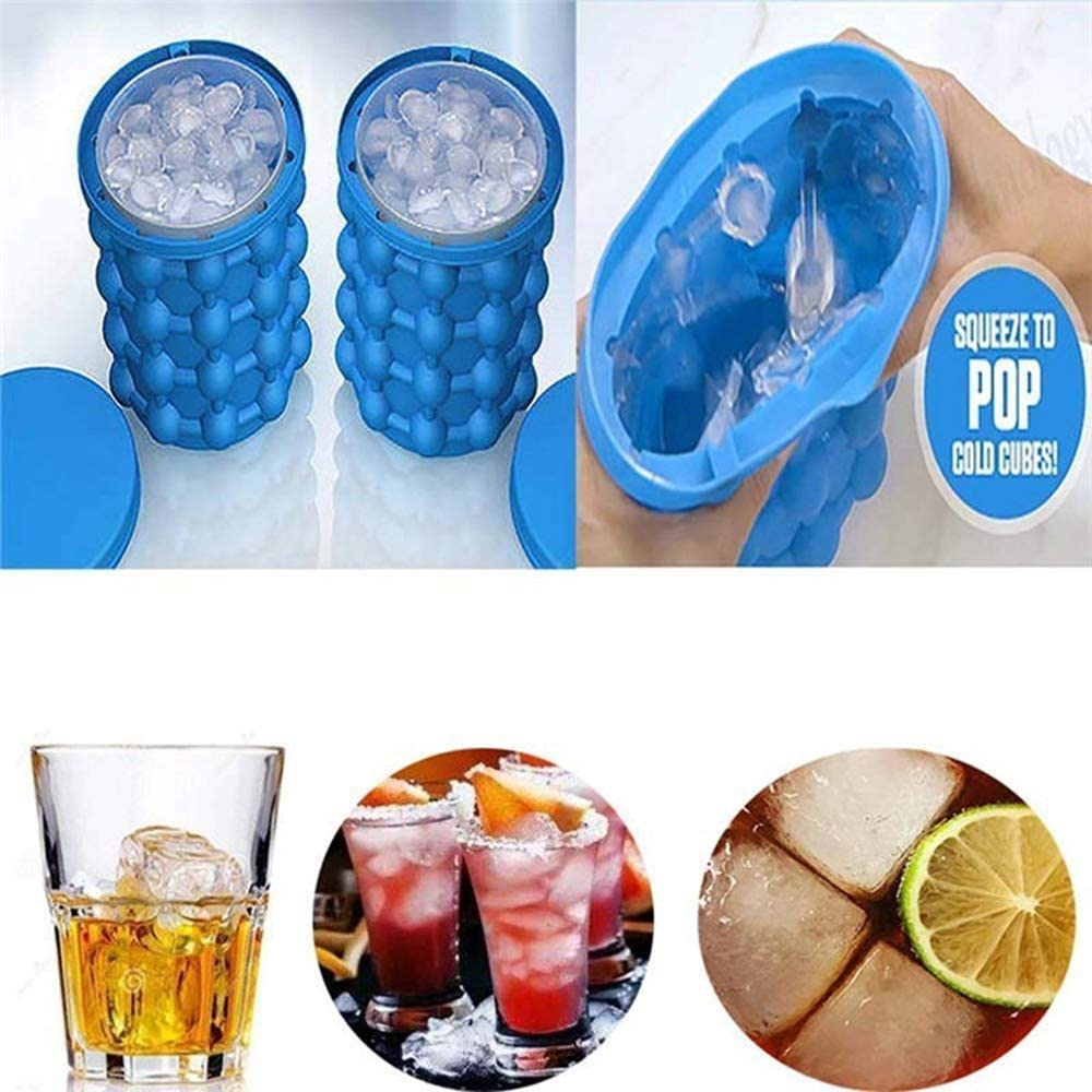 Ice Cube Mold Silicone Bucket with Lid - 2 in 1 Ice Trays Maker,Bottled Beverage Cooler,Round,Portable,for Frozen Whiskey Cocktail,Dishwasher Safe /& Bpa-Free