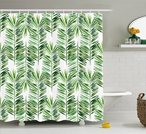 er Curtain by Ambesonne, Watercolor Tropical Tree Branch Evergreen Leaf Featured Artsy Plant Lush Design, Fabric Bathroom Decor Set with Hooks, 70 Inches, Green ()