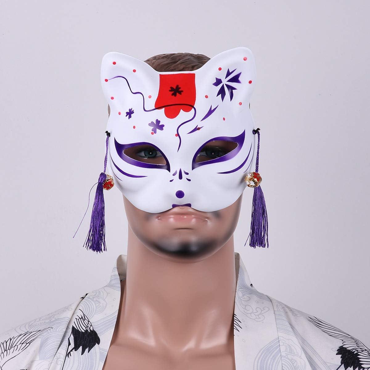 Alvivi Máscara Japonesa Zorro de PVC con Borlas y Campanas Cosplay ...
