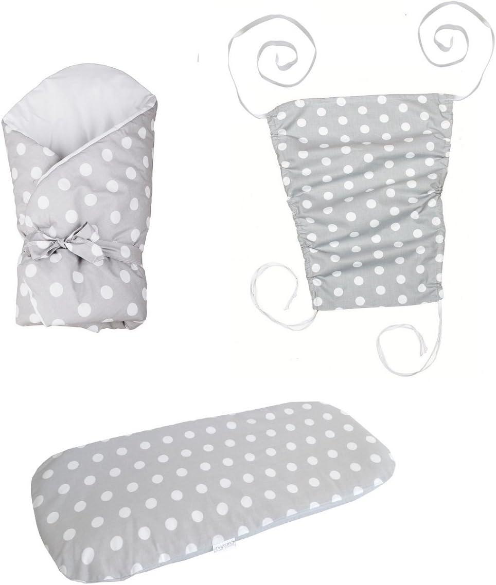 Vizaro - Pack Textil Paseo - 3 Artículos - Sábana, Arrullo, Toldo - - Algodón Puro - Hecho UE, OekoTex - Lunares: Amazon.es: Bebé