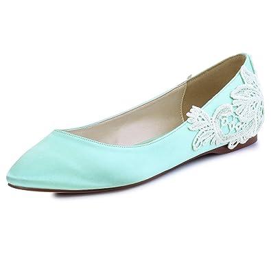 ElegantPark FC1607 Women Pointed Toe Comfort Heel Flower Applique Satin  Vintage Flats Mint UK 10