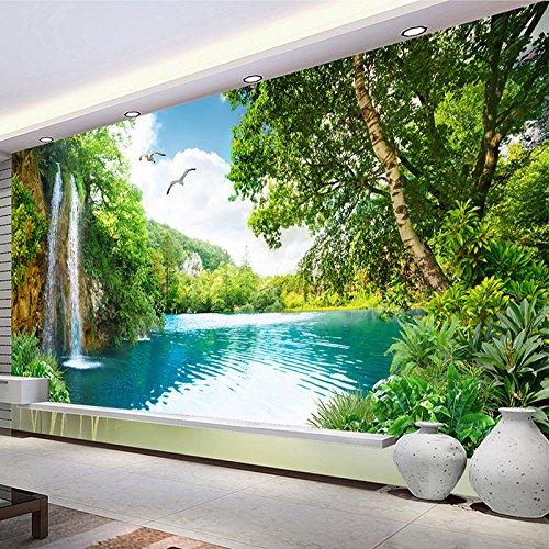 VT BigHome Custom 3D Wall Mural Wallpaper Home Decor Green Mountain Waterfall Nature Landscape 3D Photo Wall Paper Living Room Bedroom